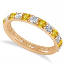 Diamond & Yellow Sapphire Eternity Wedding Band 14k Rose Gold (1.61ct)