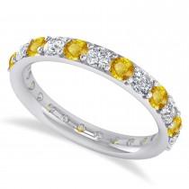 Diamond & Yellow Sapphire Eternity Wedding Band 14k White Gold (1.61ct)