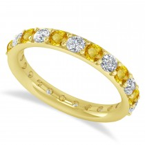 Diamond & Yellow Sapphire Eternity Wedding Band 14k Yellow Gold (1.61ct)