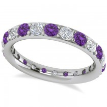 Diamond & Amethyst Eternity Wedding Band 14k White Gold (1.76ct)