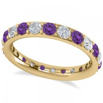 Diamond & Amethyst Eternity Wedding Band 14k Yellow Gold (1.76ct)