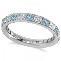 Diamond & Aquamarine Eternity Wedding Band 14k White Gold (1.76ct)