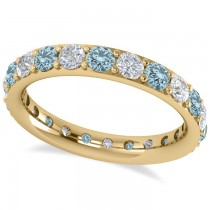 Diamond & Aquamarine Eternity Wedding Band 14k Yellow Gold (1.76ct)