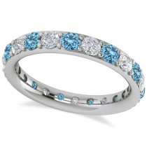 Diamond & Blue Topaz Eternity Wedding Band 14k White Gold (1.76ct)