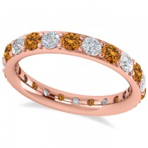 Diamond & Citrine Eternity Wedding Band 14k Rose Gold (1.76ct)