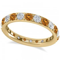 Diamond & Citrine Eternity Wedding Band 14k Yellow Gold (1.76ct)