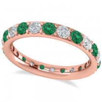 Diamond & Emerald Eternity Wedding Band 14k Rose Gold (1.76ct)