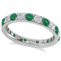 Diamond & Emerald Eternity Wedding Band 14k White Gold (1.76ct)
