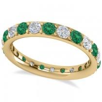 Diamond & Emerald Eternity Wedding Band 14k Yellow Gold (1.76ct)