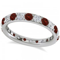 Diamond & Garnet Eternity Wedding Band 14k White Gold (1.76ct)
