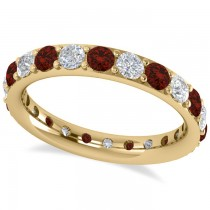 Diamond & Garnet Eternity Wedding Band 14k Yellow Gold (1.76ct)