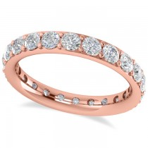 Diamond & Moissanite Eternity Wedding Band 14k Rose Gold (1.76ct)