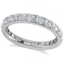 Diamond & Moissanite Eternity Wedding Band 14k White Gold (1.76ct)