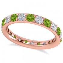 Diamond & Peridot Eternity Wedding Band 14k Rose Gold (1.76ct)