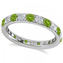 Diamond & Peridot Eternity Wedding Band 14k White Gold (1.76ct)