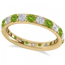 Diamond & Peridot Eternity Wedding Band 14k Yellow Gold (1.76ct)