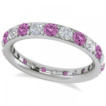 Diamond & Pink Sapphire Eternity Wedding Band 14k White Gold (1.76ct)