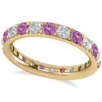 Diamond & Pink Sapphire Eternity Wedding Band 14k Yellow Gold (1.76ct)