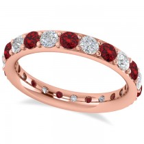 Diamond & Ruby Eternity Wedding Band 14k Rose Gold (1.76ct)