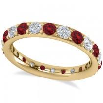 Diamond & Ruby Eternity Wedding Band 14k Yellow Gold (1.76ct)