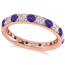 Diamond & Tanzanite Eternity Wedding Band 14k Rose Gold (1.76ct)