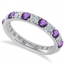 Diamond & Amethyst Eternity Wedding Band 14k White Gold (2.00ct)