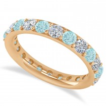 Diamond & Aquamarine Eternity Wedding Band 14k Rose Gold (1.98ct)