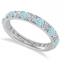 Diamond & Aquamarine Eternity Wedding Band 14k White Gold (1.98ct)