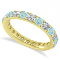 Diamond & Aquamarine Eternity Wedding Band 14k Yellow Gold (2.00ct)