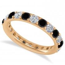 Black & White Diamond Eternity Wedding Band 14k Rose Gold (2.00ct)