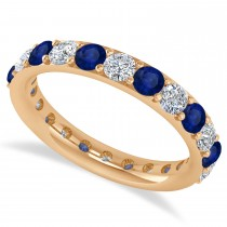 Diamond & Blue Sapphire Eternity Wedding Band 14k Rose Gold (2.00ct)