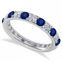 Diamond & Blue Sapphire Eternity Wedding Band 14k White Gold (2.00ct)