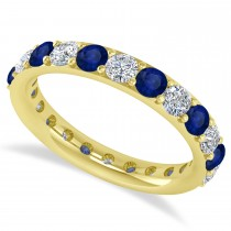 Diamond & Blue Sapphire Eternity Wedding Band 14k Yellow Gold (1.98ct)