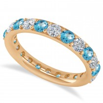 Diamond & Blue Topaz Eternity Wedding Band 14k Rose Gold (1.98ct)