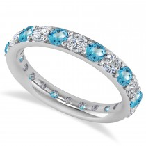 Diamond & Blue Topaz Eternity Wedding Band 14k White Gold (2.00ct)