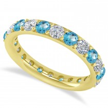Diamond & Blue Topaz Eternity Wedding Band 14k Yellow Gold (2.00ct)