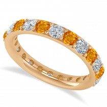 Diamond & Citrine Eternity Wedding Band 14k Rose Gold (2.00ct)