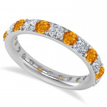 Diamond & Citrine Eternity Wedding Band 14k White Gold (2.00ct)