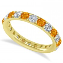 Diamond & Citrine Eternity Wedding Band 14k Yellow Gold (1.98ct)