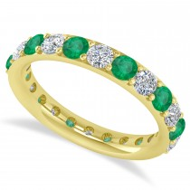 Diamond & Emerald Eternity Wedding Band 14k Yellow Gold (1.98ct)