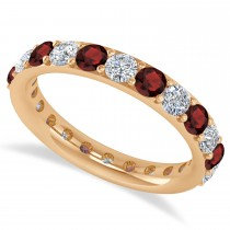 Diamond & Garnet Eternity Wedding Band 14k Rose Gold (2.00ct)