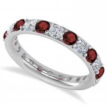 Diamond & Garnet Eternity Wedding Band 14k White Gold (1.98ct)