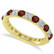 Diamond & Garnet Eternity Wedding Band 14k Yellow Gold (2.00ct)