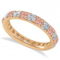 Diamond & Morganite Eternity Wedding Band 14k Rose Gold (1.98ct)