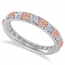 Diamond & Morganite Eternity Wedding Band 14k White Gold (2.00ct)