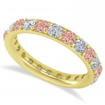 Diamond & Morganite Eternity Wedding Band 14k Yellow Gold (2.00ct)
