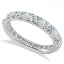 Diamond & Opal Eternity Wedding Band 14k White Gold (1.98ct)