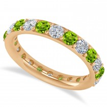 Diamond & Peridot Eternity Wedding Band 14k Rose Gold (2.00ct)