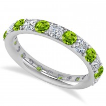 Diamond & Peridot Eternity Wedding Band 14k White Gold (1.98ct)