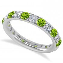 Diamond & Peridot Eternity Wedding Band 14k White Gold (2.00ct)